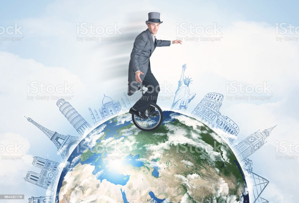 Man riding unicycle around the globe with major cities - Royalty-free Adult Stock Photo