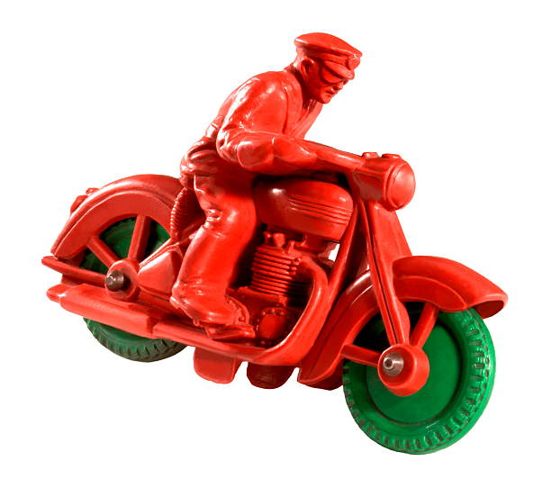 Man Riding Vintage Red and Green Motocycle stock photo
