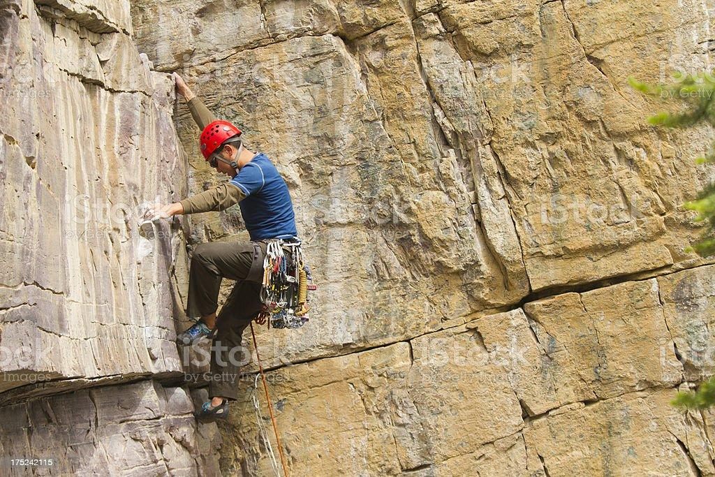 Man Rock Climbing, Lake Louise, Canada stock photo