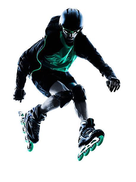 man Roller Skater inline  Roller Blading silhouette stock photo