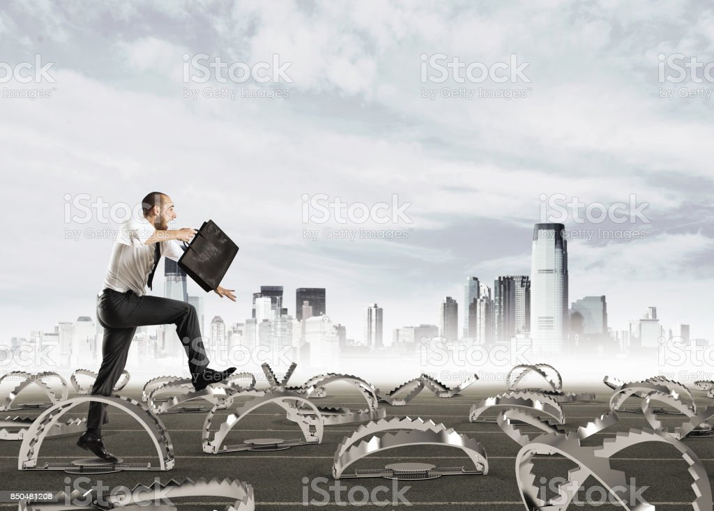 Man run in a thousand difficulties stock photo