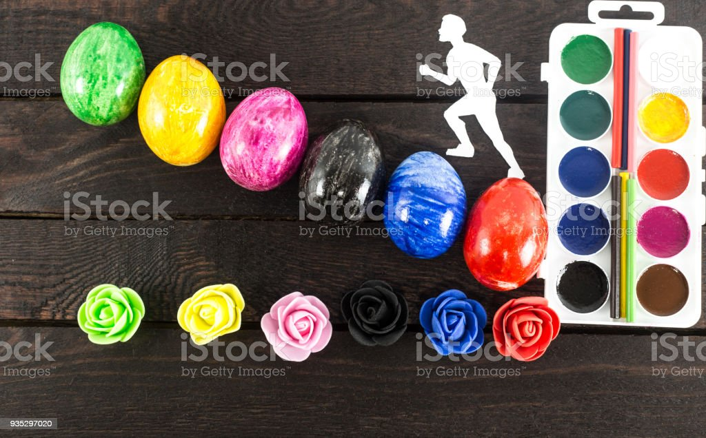 man runing up from egg shaped stairs. stock photo