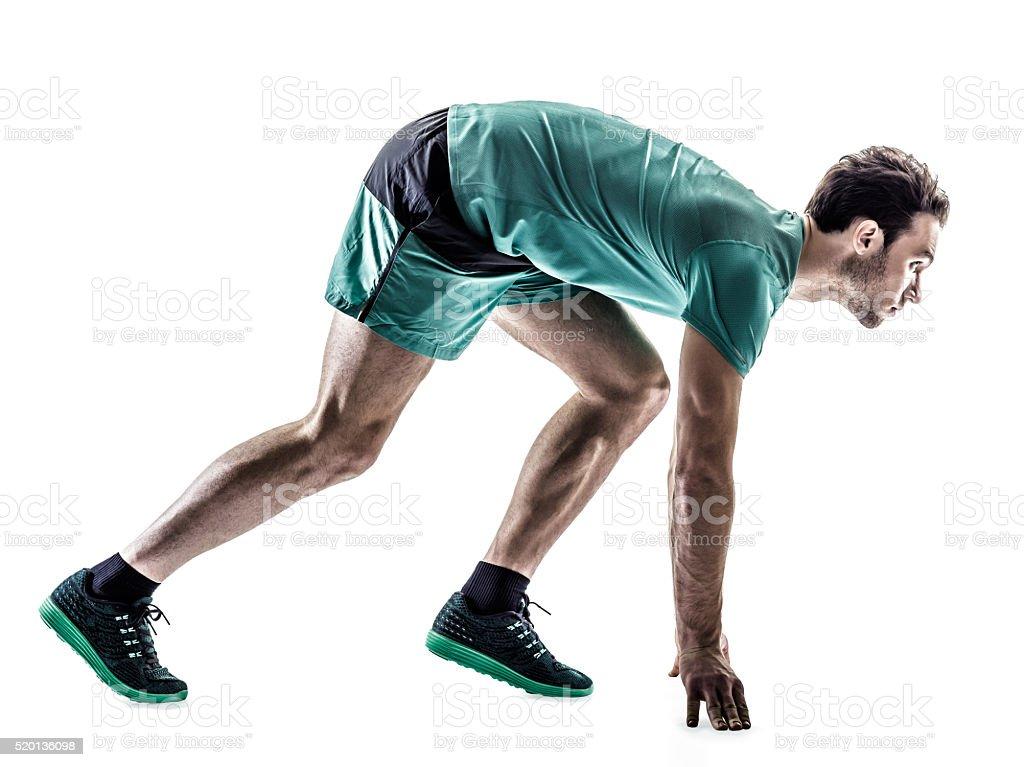 Hombre de corredor corriendo aislado impulsor - foto de stock