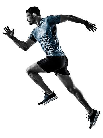 Foto de Basculador De Corredor De Homem Correr Correr Isolado Sombras e mais fotos de stock de Adulto