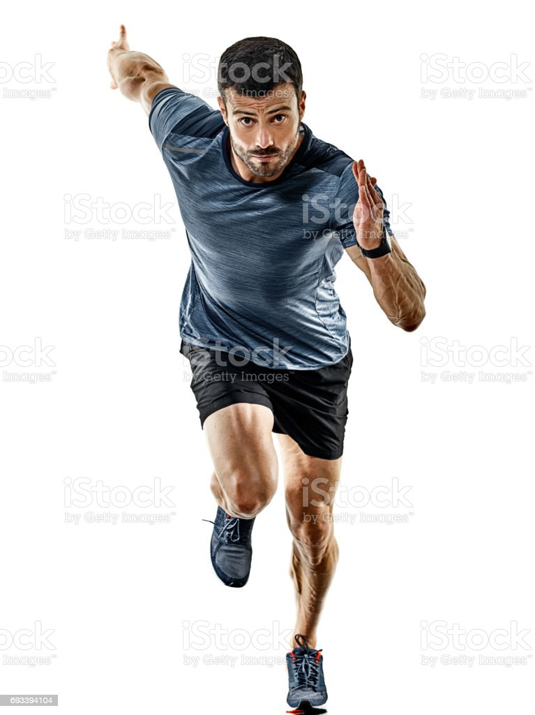 man runner jogger running jogging isolated shadows - fotografia de stock