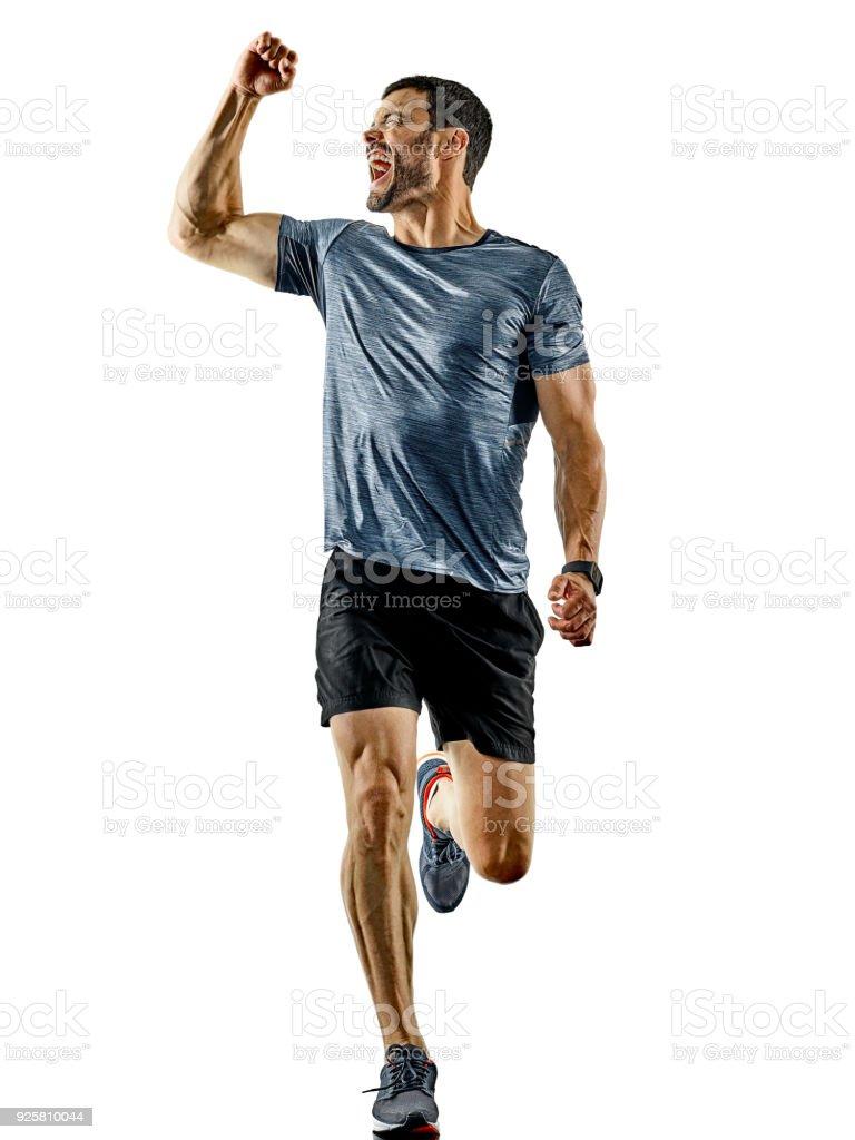 man runner jogger running jogging isolated shadows stock photo