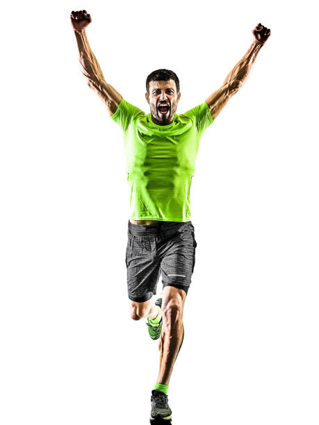 man runner running jogger jogging happy isolated silhouette white background stock photo