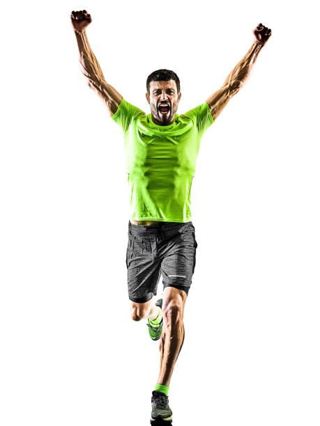 Mann Läufer laufen Jogger joggen glücklich isolierte Silhouette weißen Hintergrund – Foto