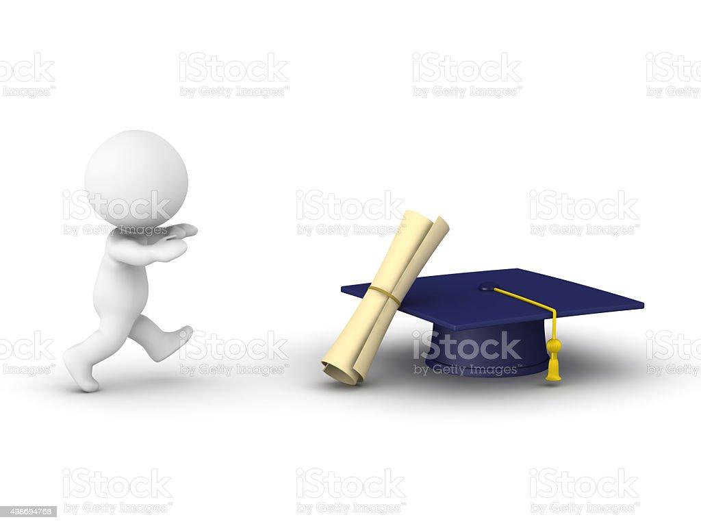 3D Man running after diploma stock photo