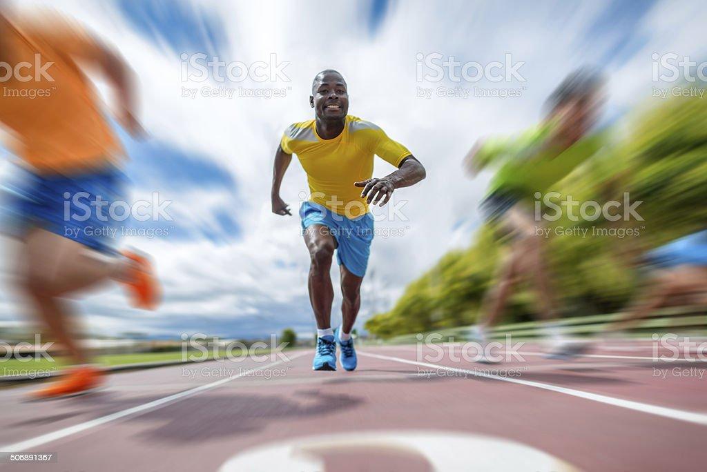 Man running at a marathon stock photo