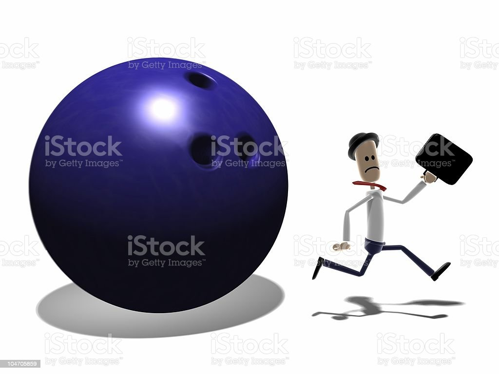 Man Running from giant Bowling ball royalty-free stock photo
