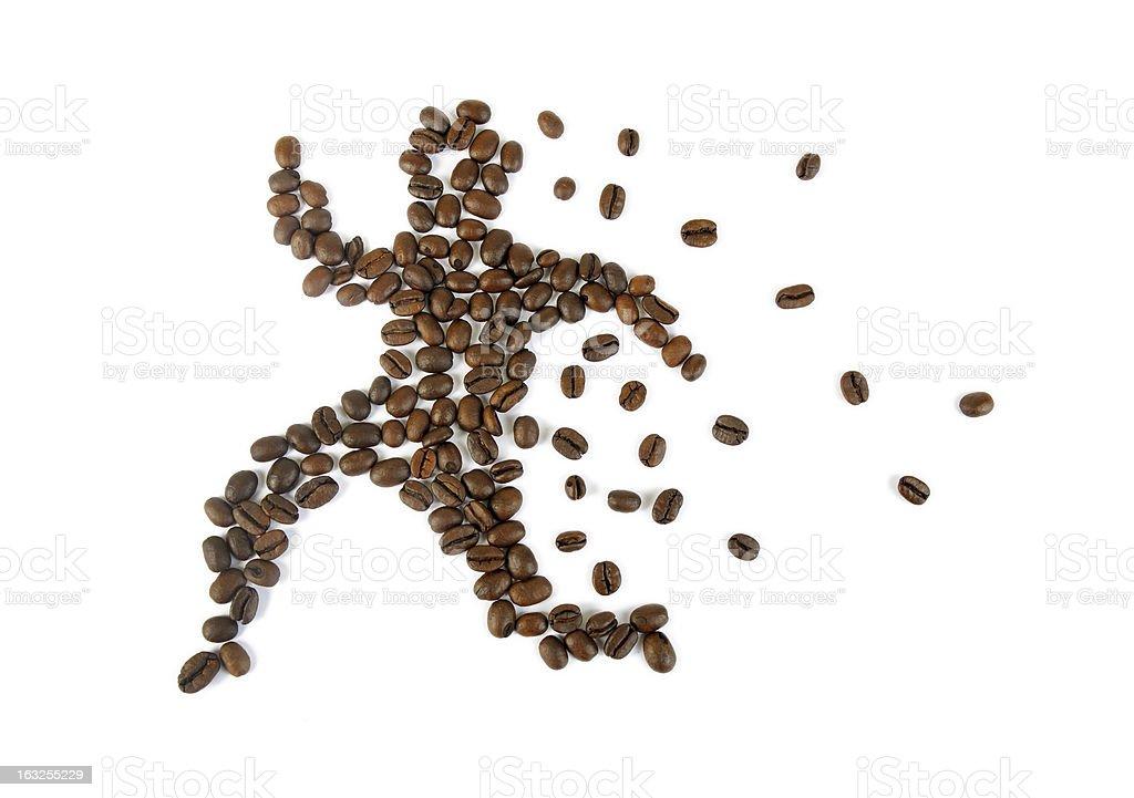 Man running full of coffee energy stock photo