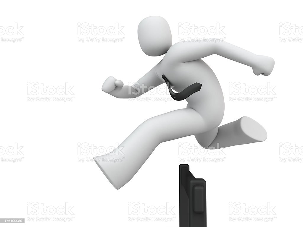 Man Running Hurdles royalty-free stock photo