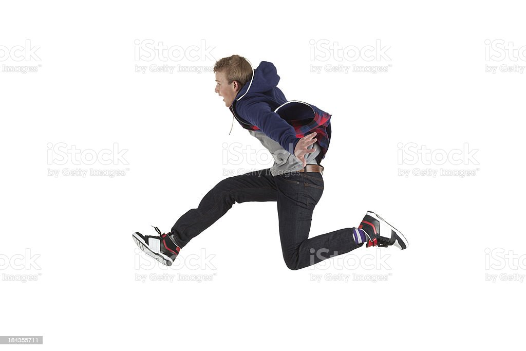 Man running in a hurry stock photo