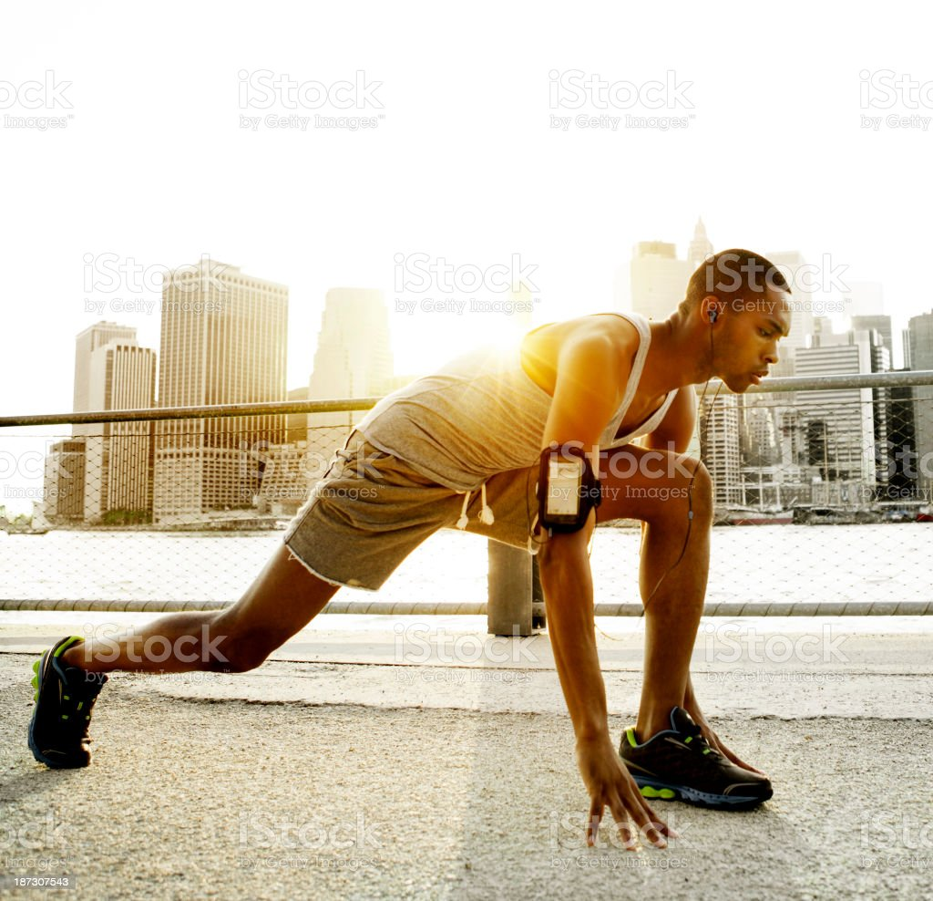 Man running in New York royalty-free stock photo