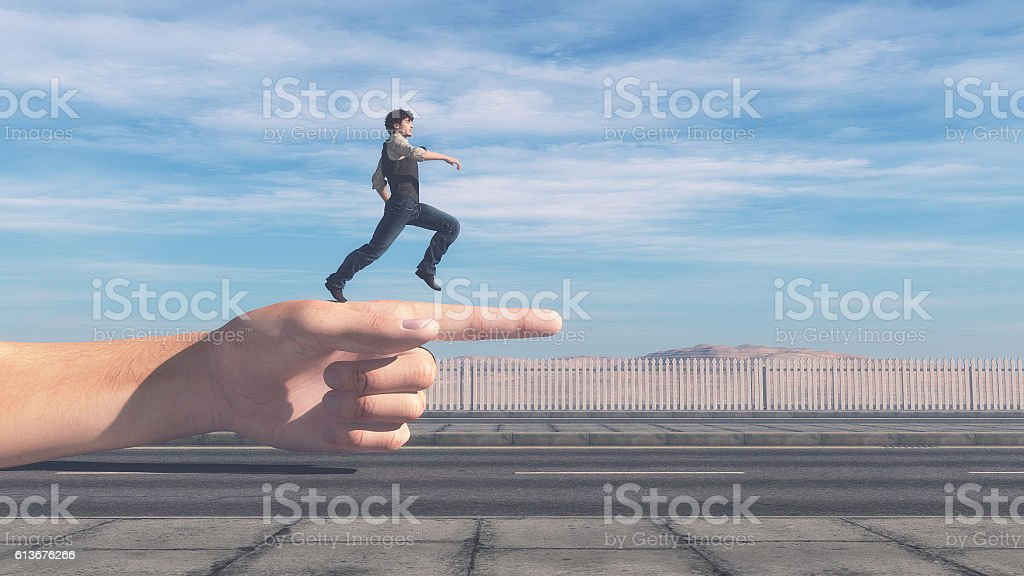 Man running in the direction stock photo