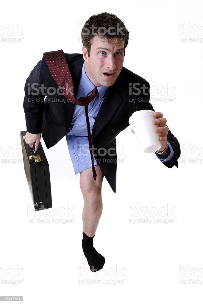 Man running late forgot his pants stock photo
