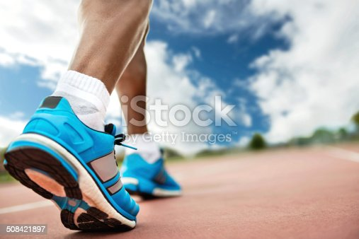 Man running - close up on shoes
