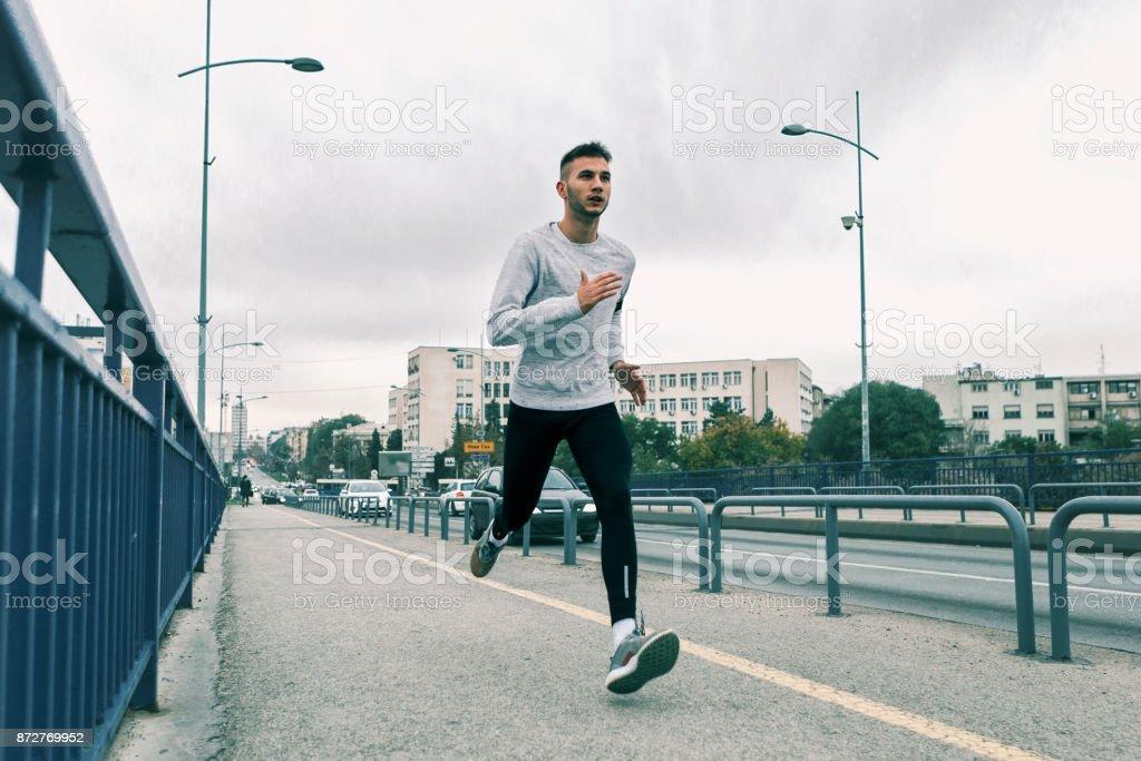 Runner in the morning ,running fast