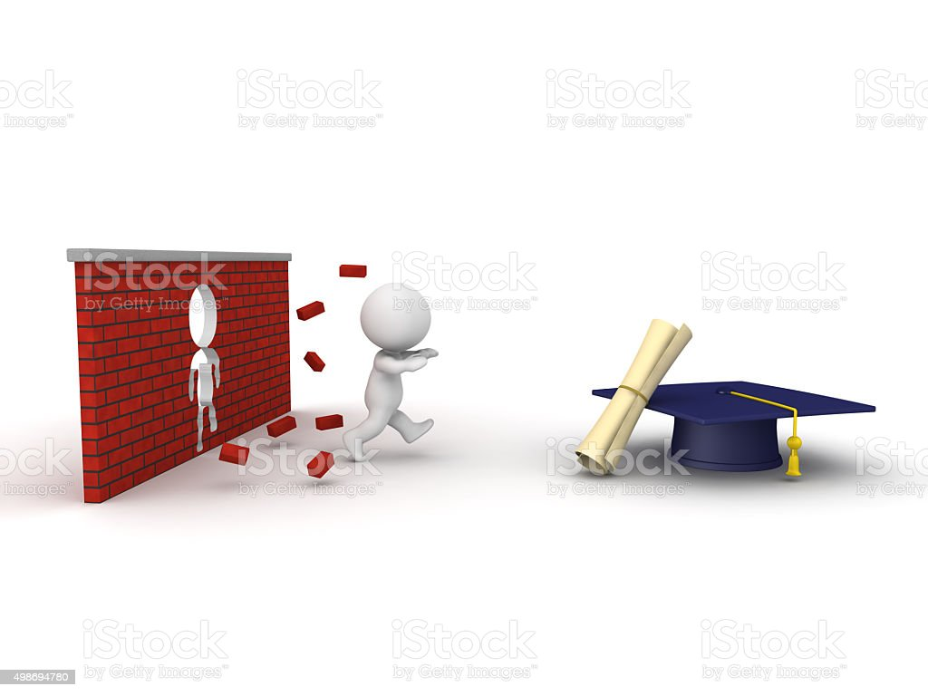 3D Man running through obstacle to get diploma stock photo