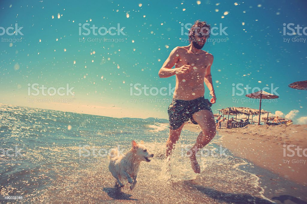 man running with his dog on the beach stock photo