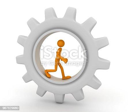 istock Man runs inside a large gear 967529680