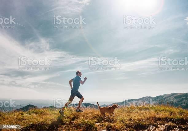 Man runs with his beagle dog on mountain top picture id973965672?b=1&k=6&m=973965672&s=612x612&h=7k9 eauddwhhww eyip4evncgh2u4ikypqxtayfu6pq=