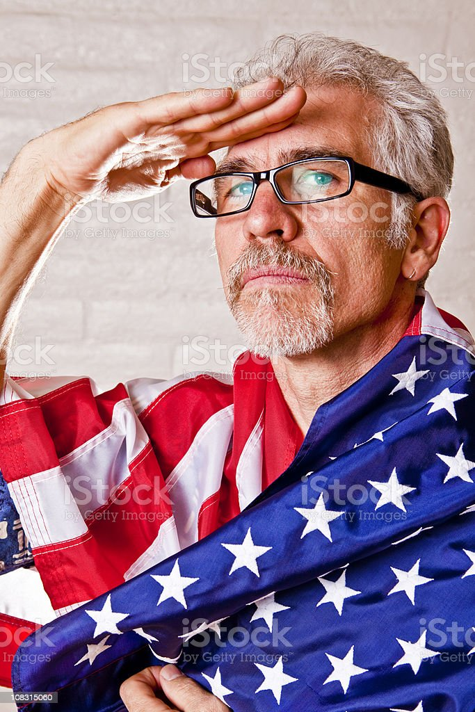 Man saluting royalty-free stock photo