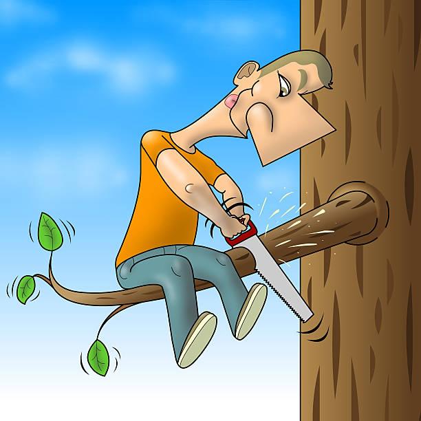 man sawed branch - 諷刺畫 個照片及圖片檔