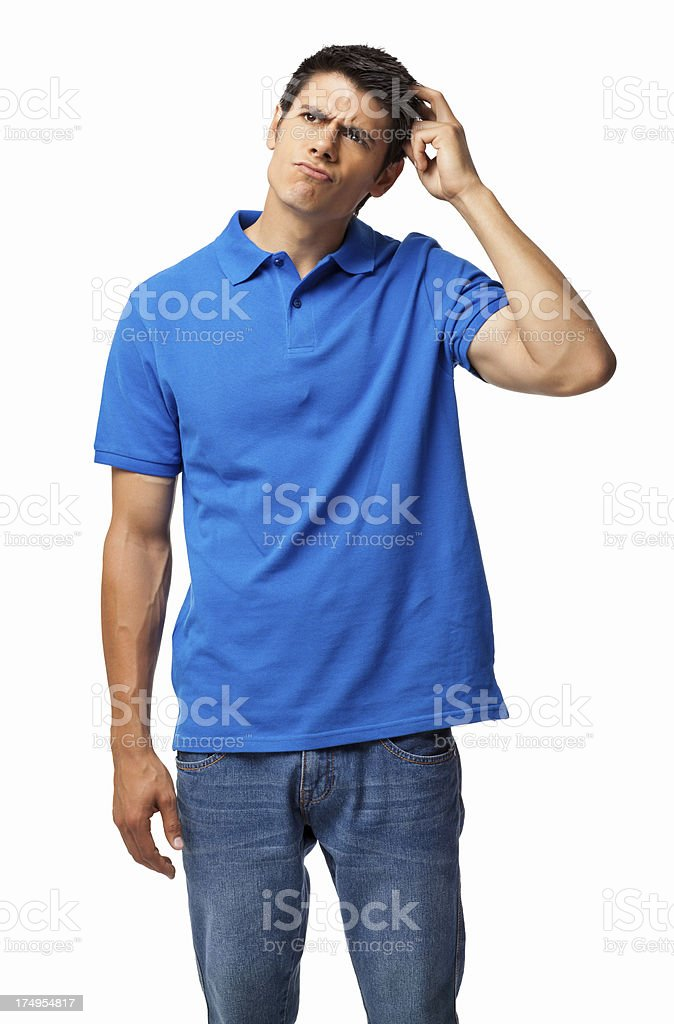 Man Scratching Head - Isolated stock photo