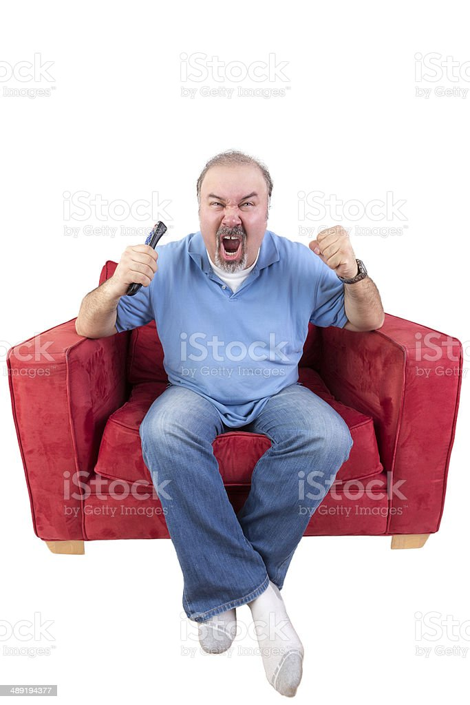 Man Screaming At The Television Stock Photo - Download Image Now - iStock