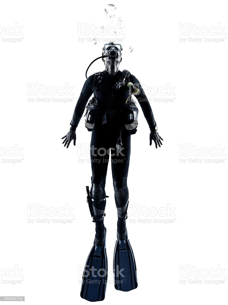 man scuba diver diving silhouette isolated stock photo