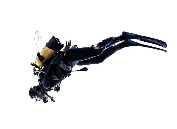 silhouette homme plongée sous-marine plongée isolé - Photo