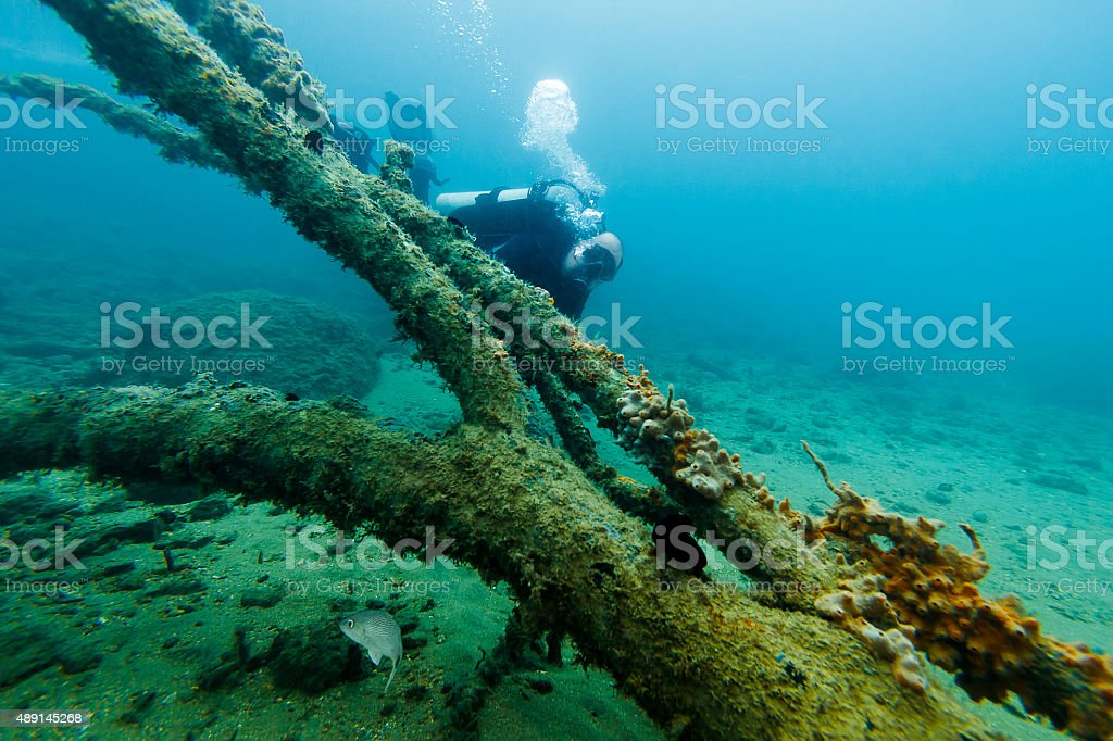 Man Scuba Diving Behind a Submerged Tree Trunk stock photo