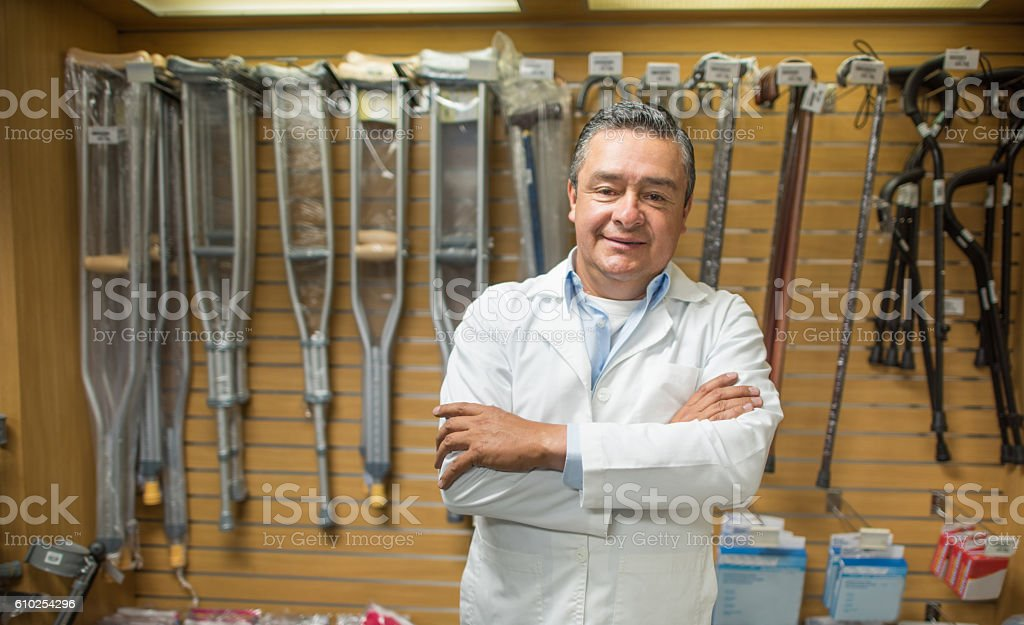 Man selling orthopedics equipment stock photo