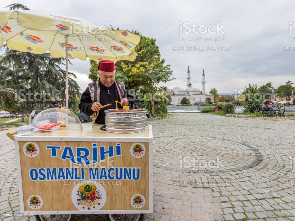 Man sells Ottoman Macun in Edirne,Turkey royalty-free stock photo