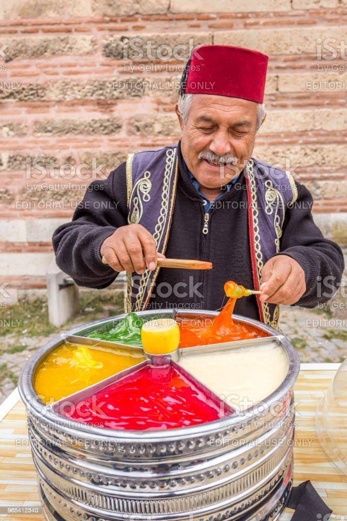 Man sells Ottoman Macun in Edirne,Turkey royalty-free stock photo