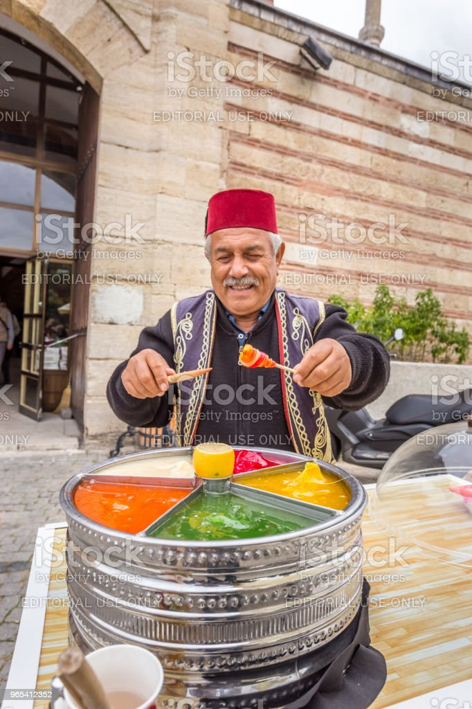 Man sells Ottoman Macun in Edirne,Turkey zbiór zdjęć royalty-free