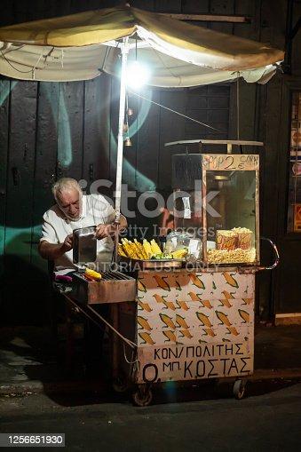 Athens, Greece - 11 September 2019. A man sells pop corn in Plaka Athens
