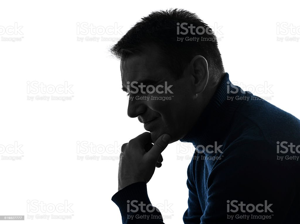 man serious thinking pensive silhouette portrait stock photo