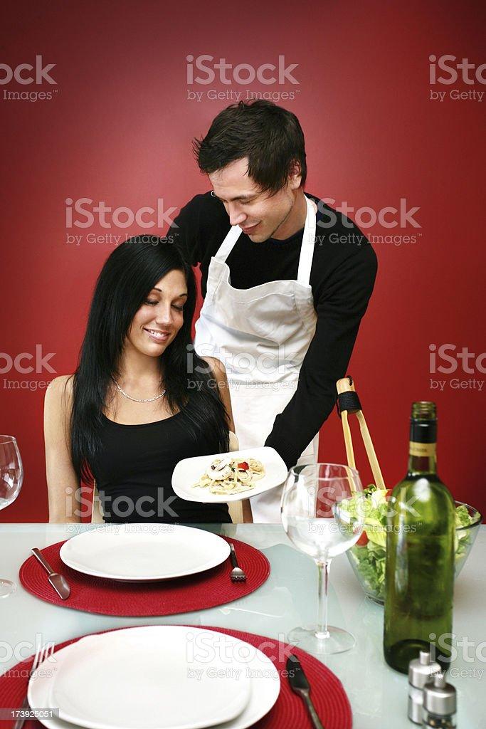 Man serving food royalty-free stock photo