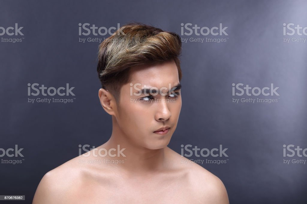 Man sexy face topless male model with Different Shading beautiful Color Hair stock photo