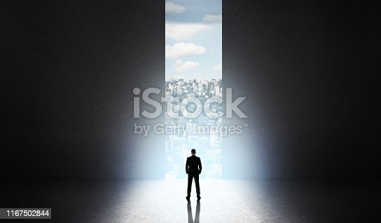 82186105 istock photo Man shadow on start new city building in front of big doors 1167502844
