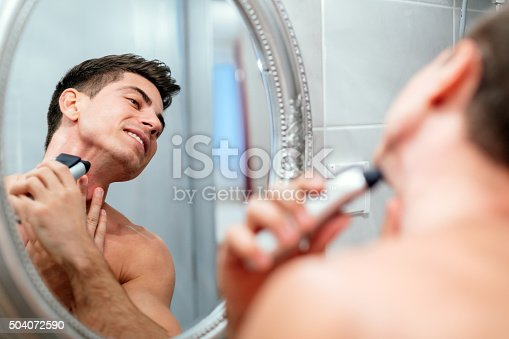 istock Man shaving in the morning 504072590
