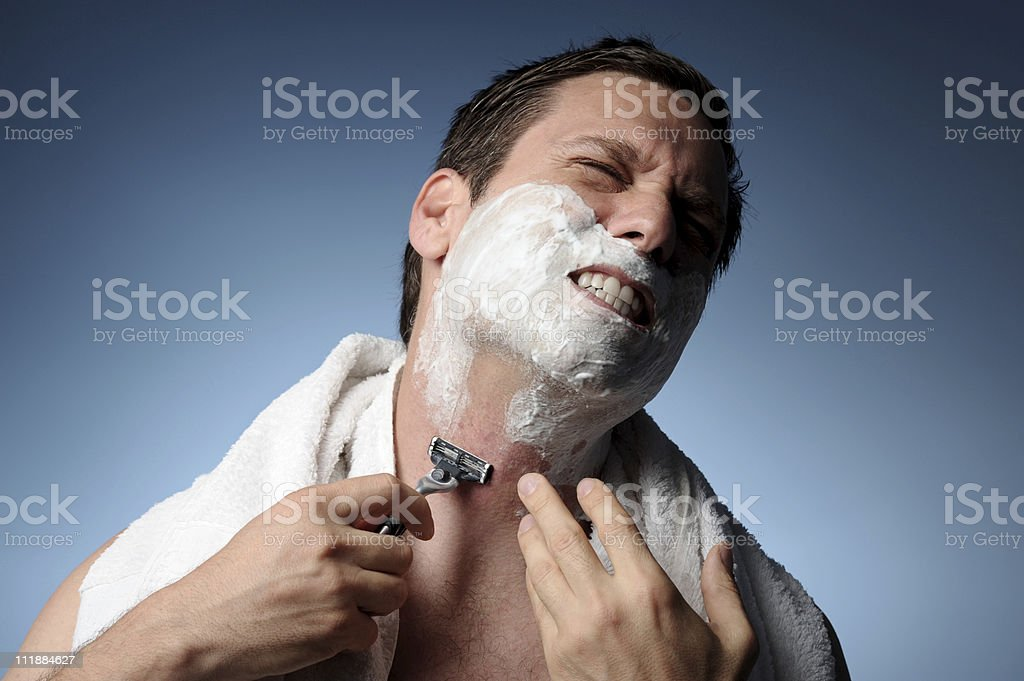 Man Shaving With Razor Burn royalty-free stock photo