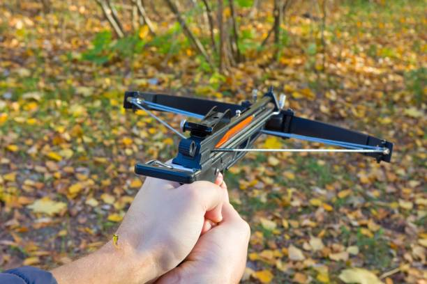 man shooting a crossbow - crossbow stock pictures, royalty-free photos & images