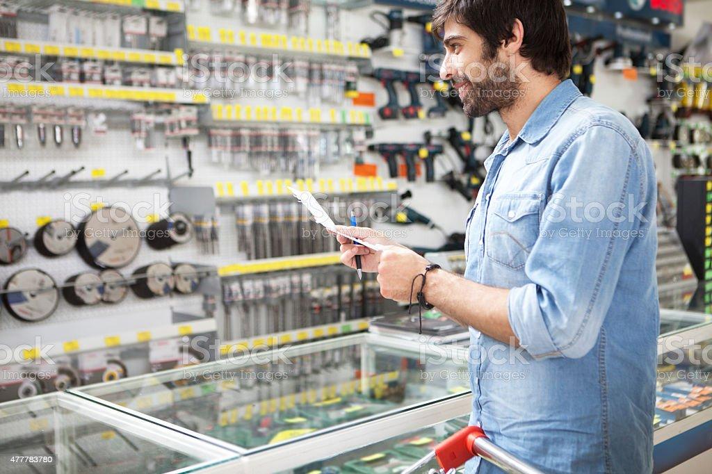 Man shopping diy store stock photo