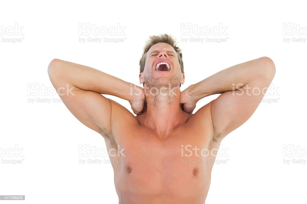 Man shouting and suffering from neck pain royalty-free stock photo