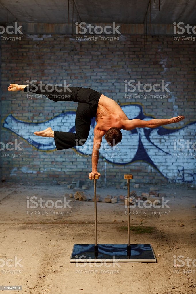 Man show his performance stock photo