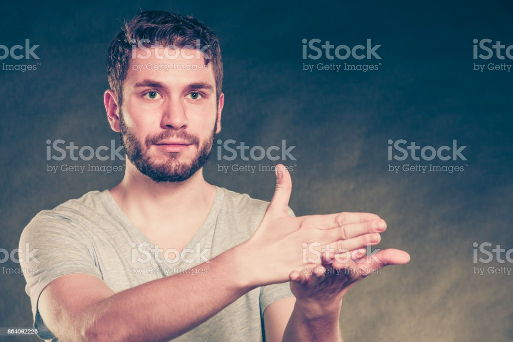 Man show sign with hands royalty-free stock photo